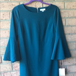 Calvin Klein turquoise sheath with ruffle sleeves
